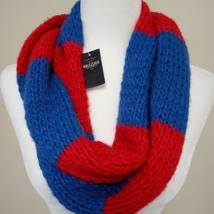 NWT Hollister Red & Blue Color Block Scarf Wool